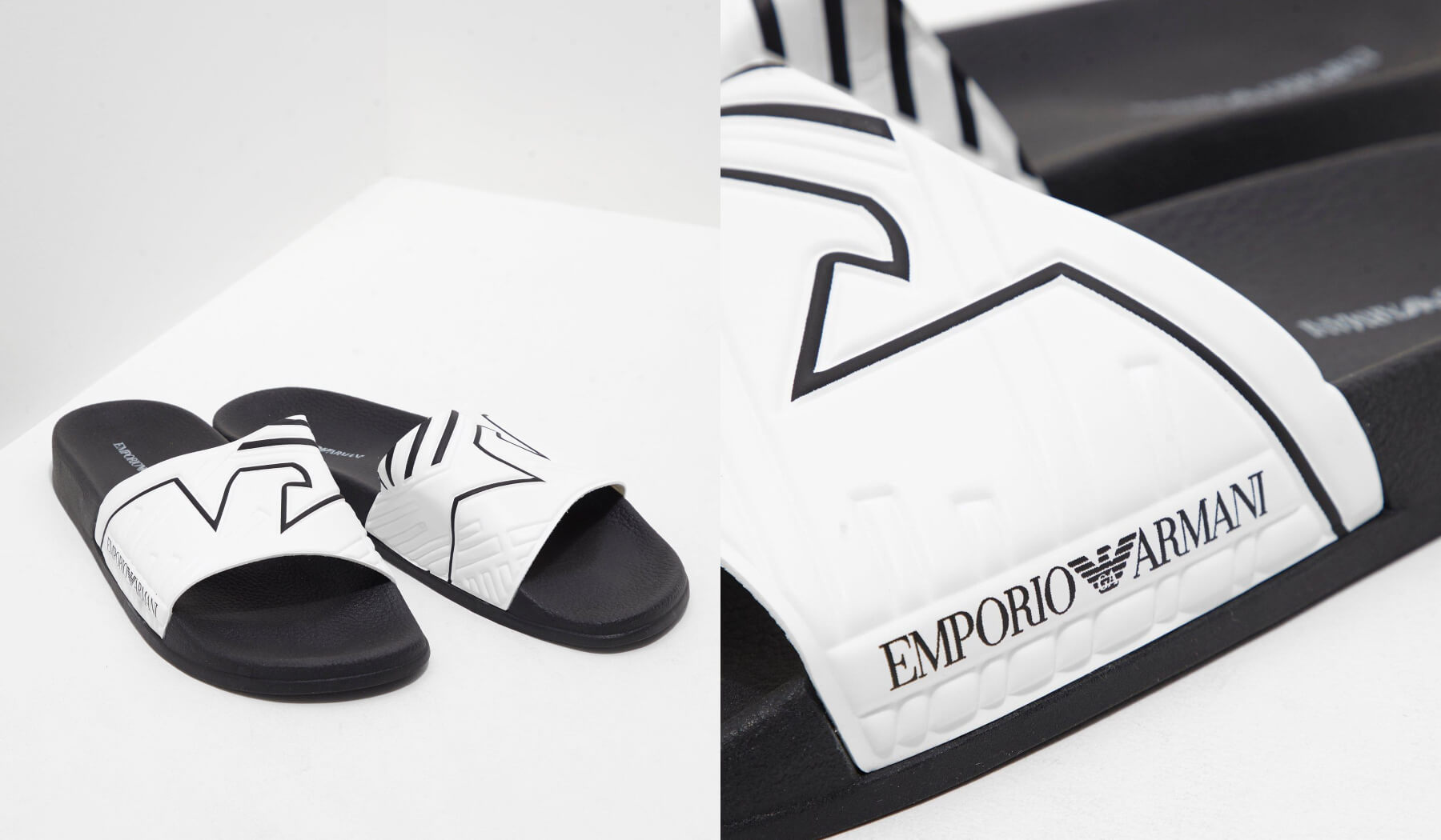 f953b6cb606 ... lines and feature the Emporio Armani logo to the side. Available in  both black and white